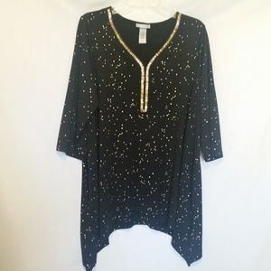 Catherines Black w/Gold Beading Top Size 16W